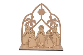 NATIVITY SCENE 6P 16X7.5X0.30CM MDF AND ACRYLIC