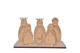 NATIVITY SCENE 6P 7CM W/BASE IN MDF AND ACRYLIC