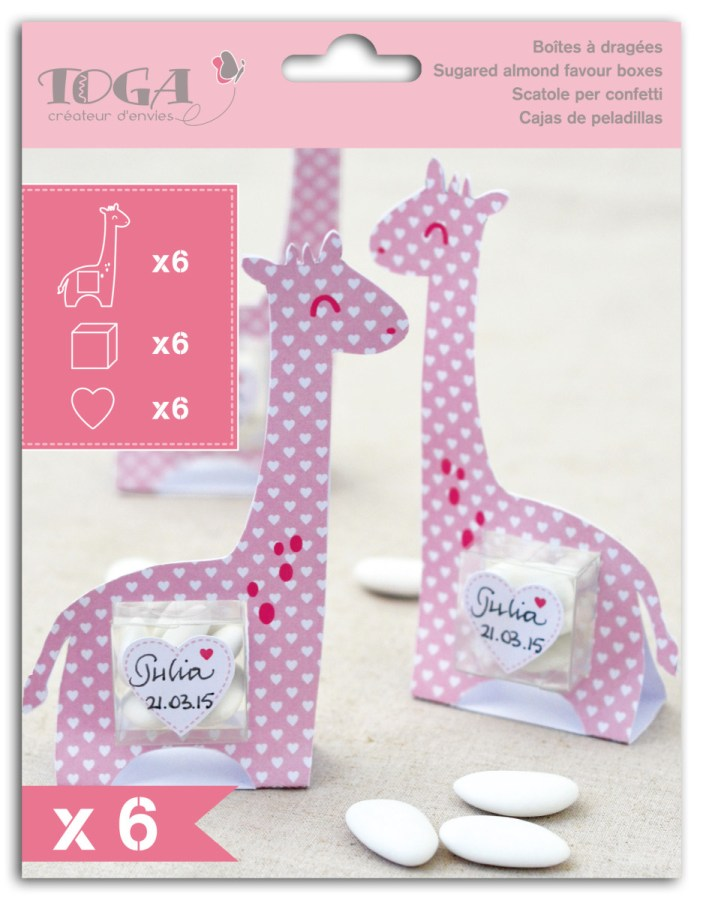 SET 6 CX GIRAFA ROSA 8.8X13.5X3CM P/AMENDOAS  KC50
