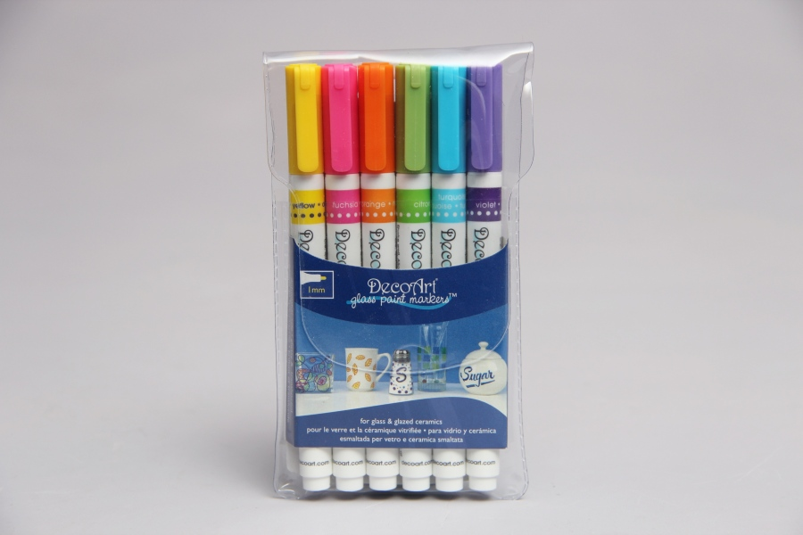 SET 6 GLASS PAINT MARKER DECOART DGPMK02