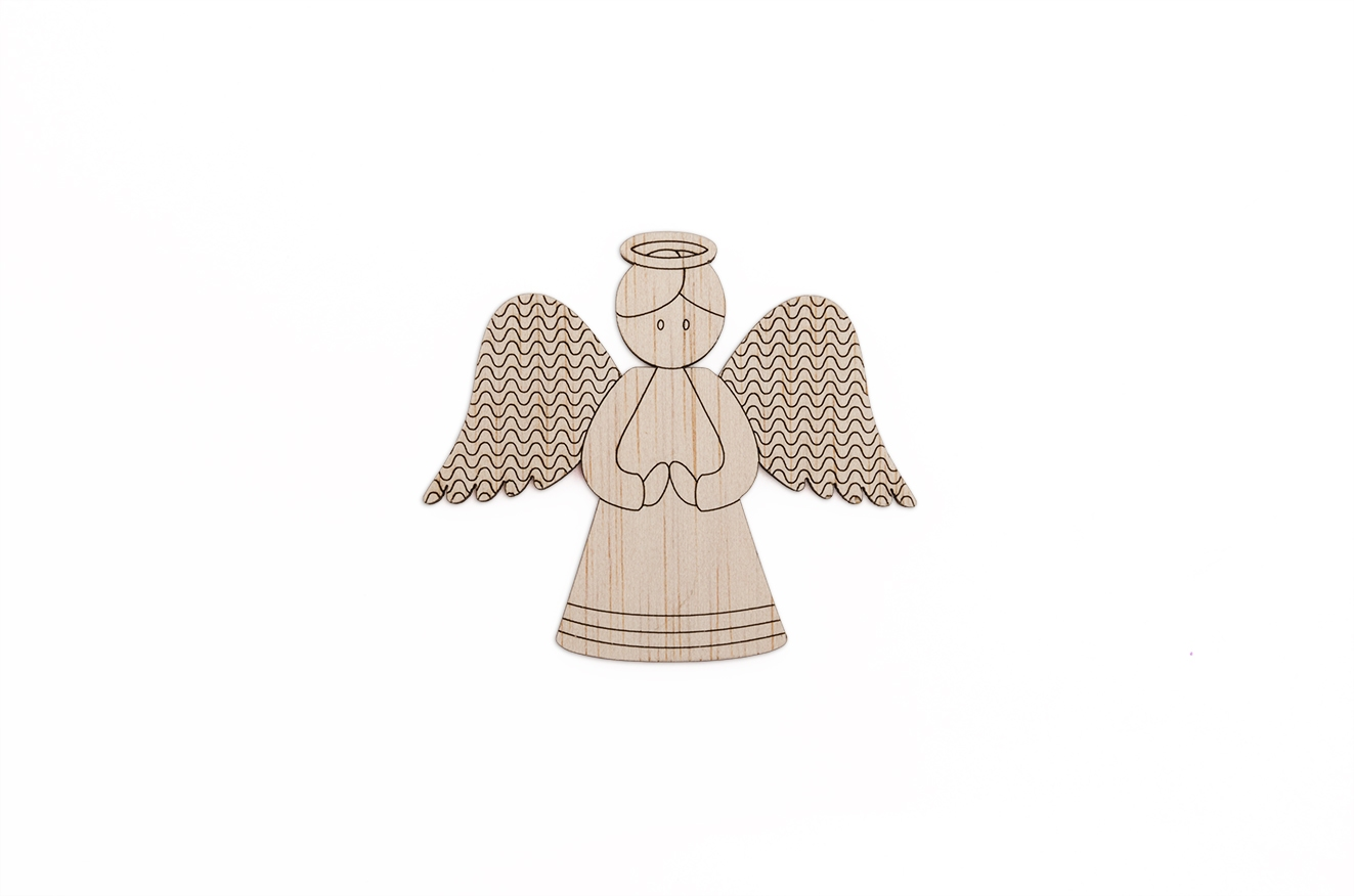 SET 12 ANGELS MAGNET 7.6X7X0.3CM POPLAR WOOD