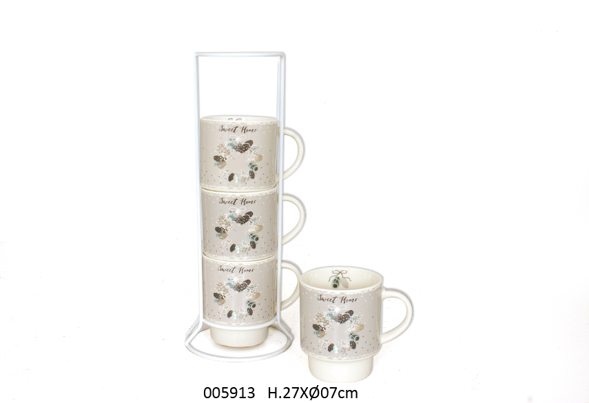 SET 4 MUGS C/SUP PASTEL 27CM D.7CM  200ML