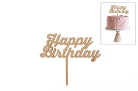 SET 4 ESPETOS HAPPY BIRTHDAY 15X13X0.3CM MDF