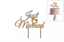SET 4 CAKE TOP JUST MARRIED 20X18.6X0.3CM MDF