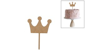 SET 4 CAKE TOP PRINCE CROWN 10X14X0.3CM MDF
