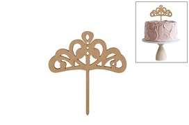 SET 4 CAKE TOP PRINCESS CROWN 12X13X0.3CM MDF