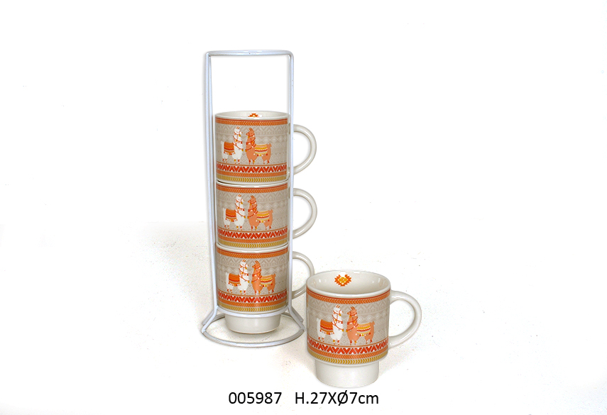 SET 4 MUGS C/SUP D.7 x 27CM 200ML HACIENDA