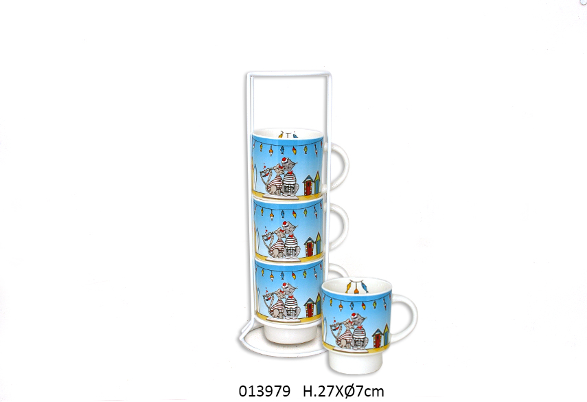 SET 4 MUGS C/SUP D.7 x 27CM 200ML ROXY