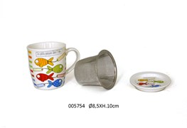 CANECA+COADOR  D.8.5X10CM 325ML AQUARIUS