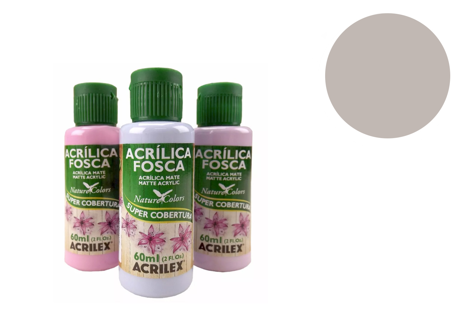 TINTA 60ML NATURE COLORS CINZA 03960933 ACRILEX