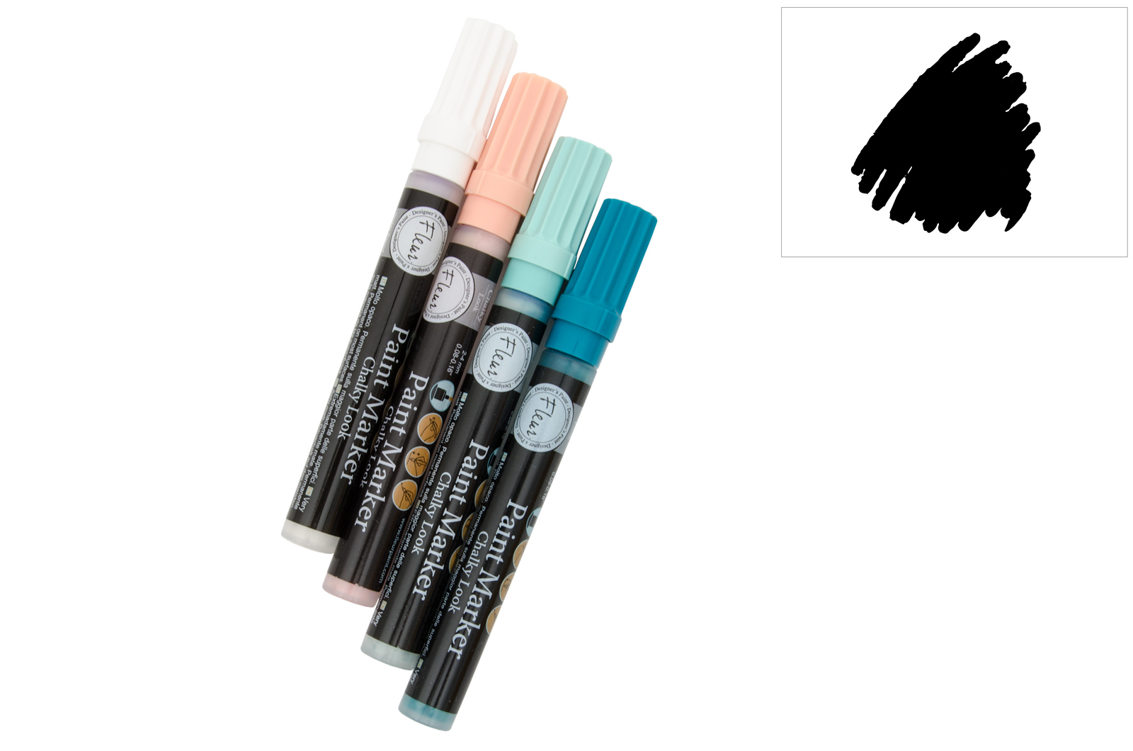PAINT MARKERS CHALKY LOOK BLACK FLEUR