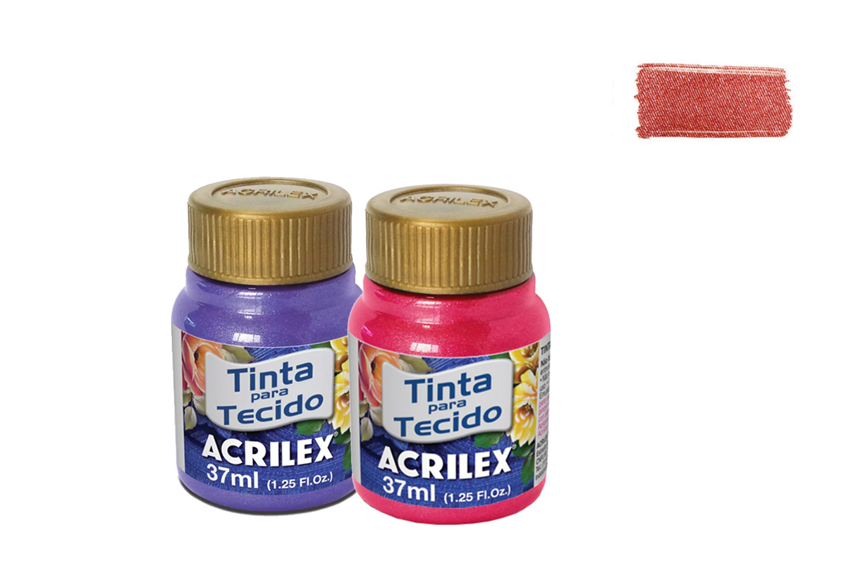 TINTA TECIDO 37ML METALICA FIRE RED 04340507 ACRILEX