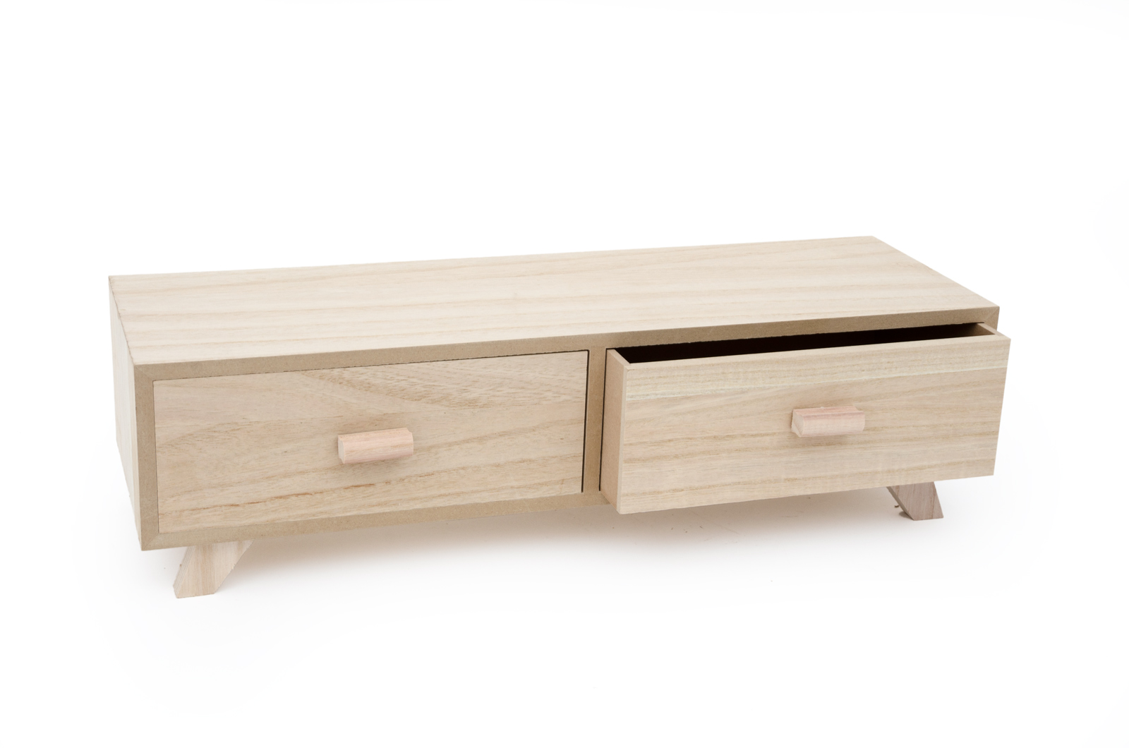 WOODEN BOX W/2 DRAWERS 53x17x14.5CM