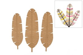 SET 3 FEATHERS 50; 55; 60X0.3CM MDF