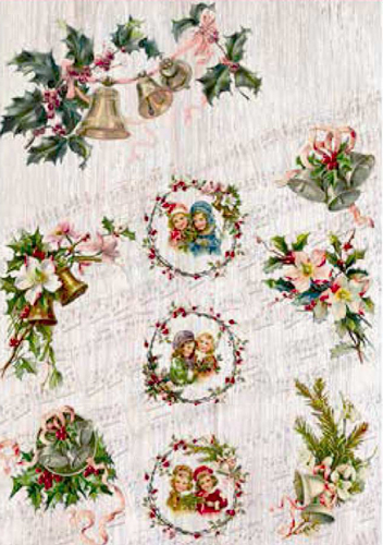PAPEL ARROZ 35X50CM SHABBY CHRISTMAS 2390-9456
