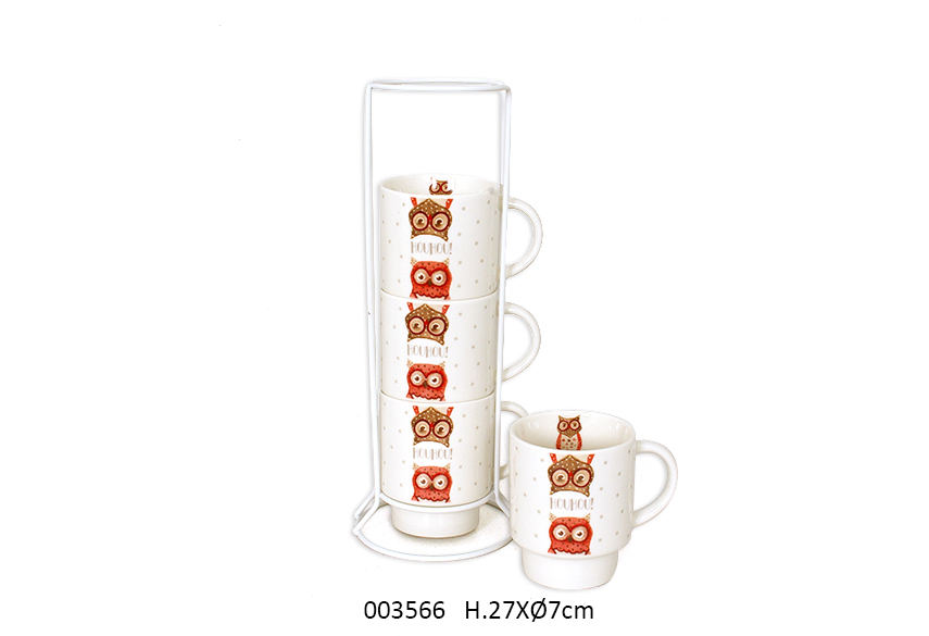 SET 4 MUGS C/SUP 27CM D.7CM  200ML ELLY