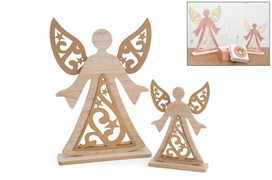 SET 2 ANGELS WITH BASE 25-35X0.9CM MDF FOLHA