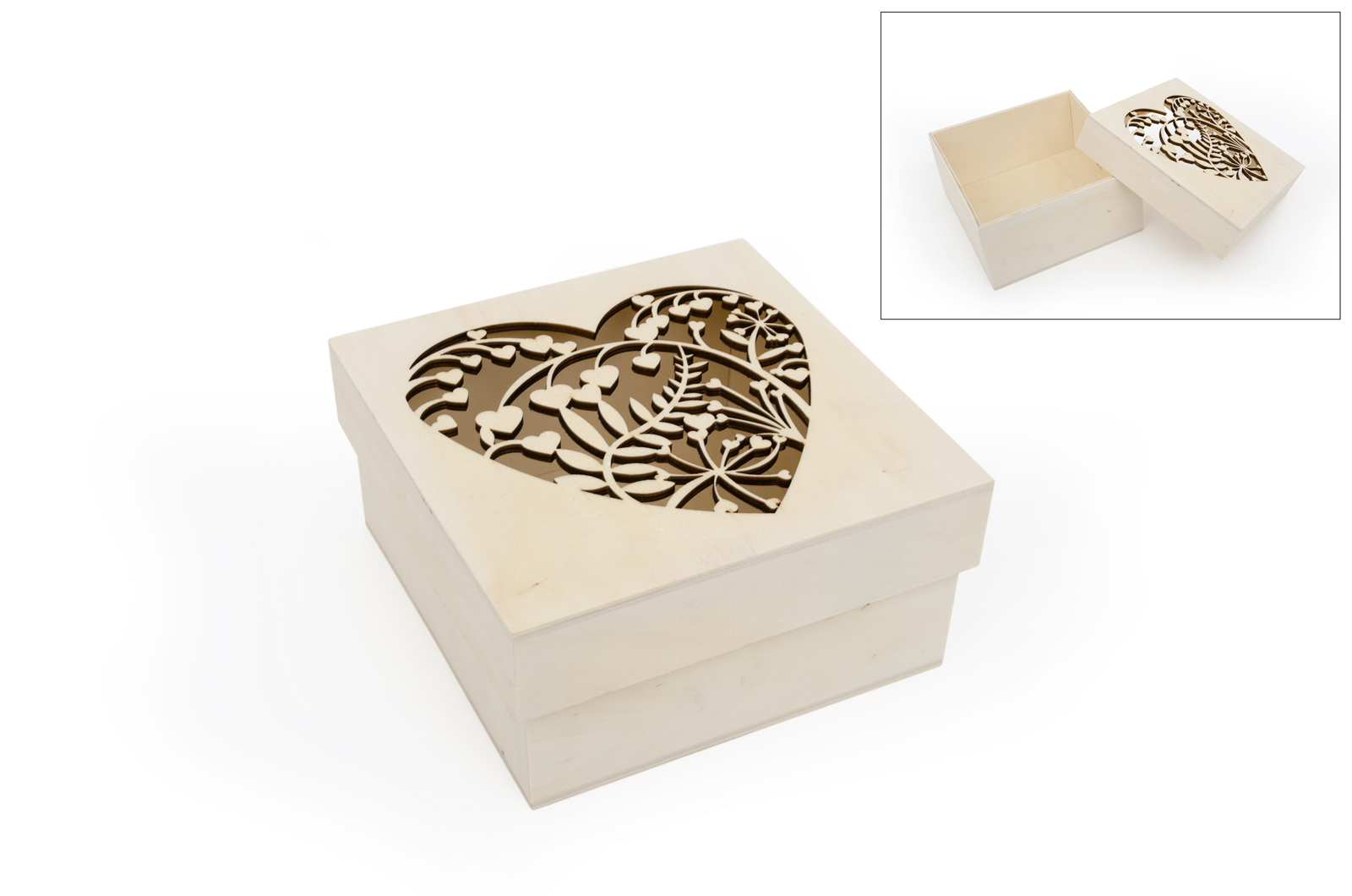 BOX W/LACED HEART 16X16X8CM