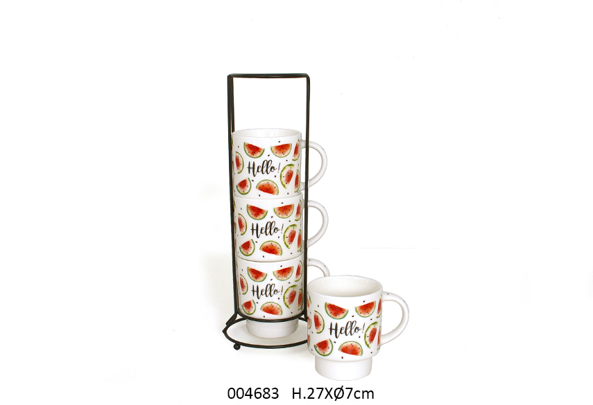 SET 4 MUGS C/SUP 27CM D.7CM FRESH