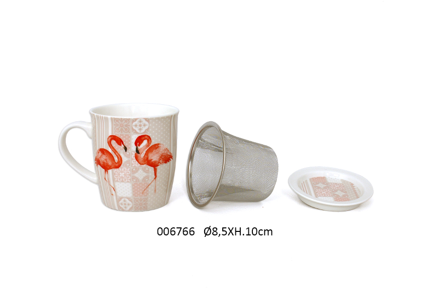 CANECA+COADOR  D.8.5X10CM 325ML  FLAMMY