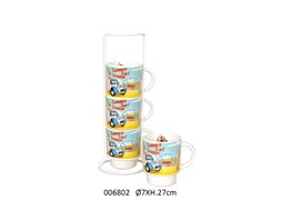 SET 4 MUGS W/SUP 27CM D.7CM SLATER