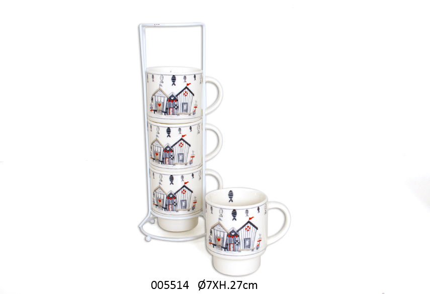 SET 4 MUGS C/SUP 27CM D.7CM WAVE