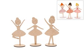 SET 3 BALLET DANCERS 25X0.5CM MDF C/BASE