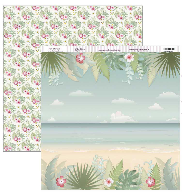 PAPER SCRAPBOOKING 30.5X30.5CM SCP-318 TROPICAL BEACH