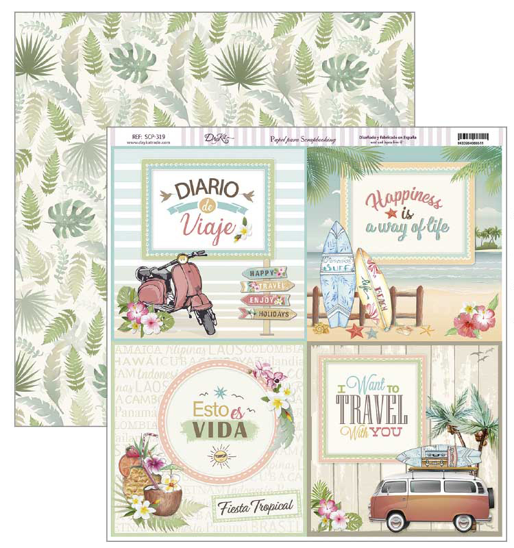 PAPEL SCRAPBOOKING 30.5X30.5CM SCP-319 TRAVEL
