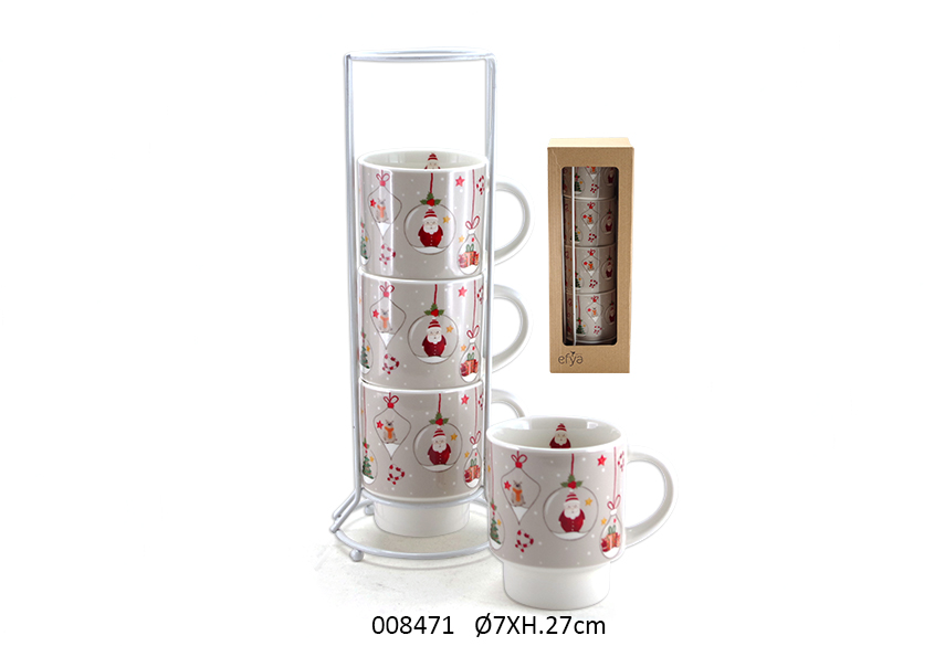 SET 4 MUGS C/SUP 27CM D.7CM 200ML CLAUS
