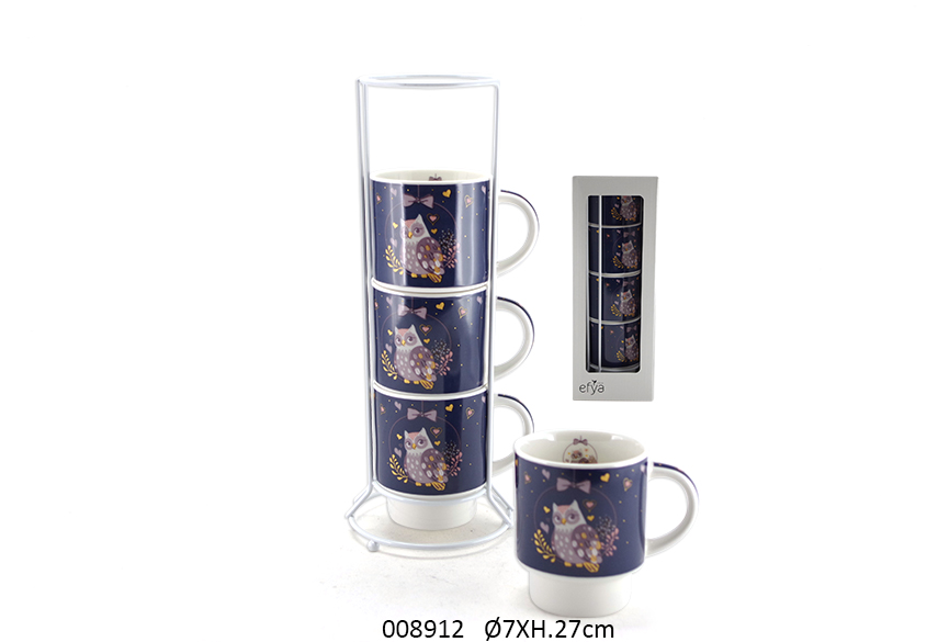 SET 4 MUGS C/SUP 27CM D.7CM 200ML OLYMPIA