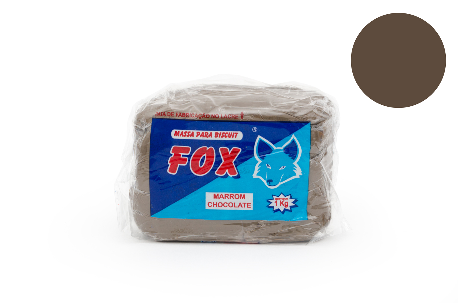 MASSA BISCUIT 1KG MARRON CHOCOLATE FOX