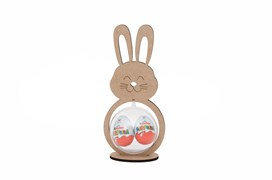 RABBIT WITH BASE 12.9X27.9X0.5CM MDF WITH ACRYLIC BALL 10CM