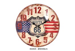 CLOCK ROUTE 66 FLAG  D.40 X 6CM