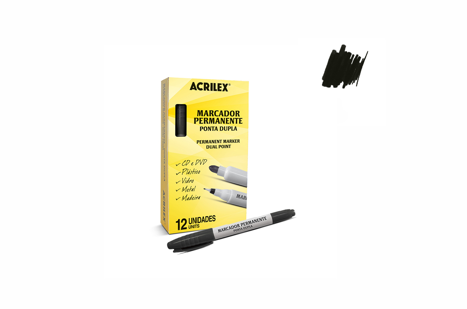 PARMANENT MARKER DUAL POINT BLACK 06212520 ACRILEX