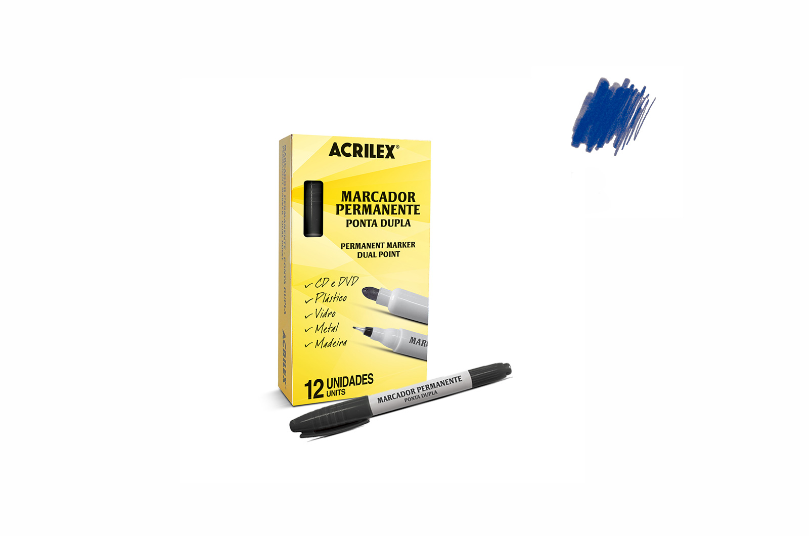 PARMANENT MARKER DUAL POINT BLUE 06212521 ACRILEX