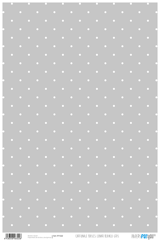 CARDBOARD PAPER BASICS DOT WHITE GREY PFY-322