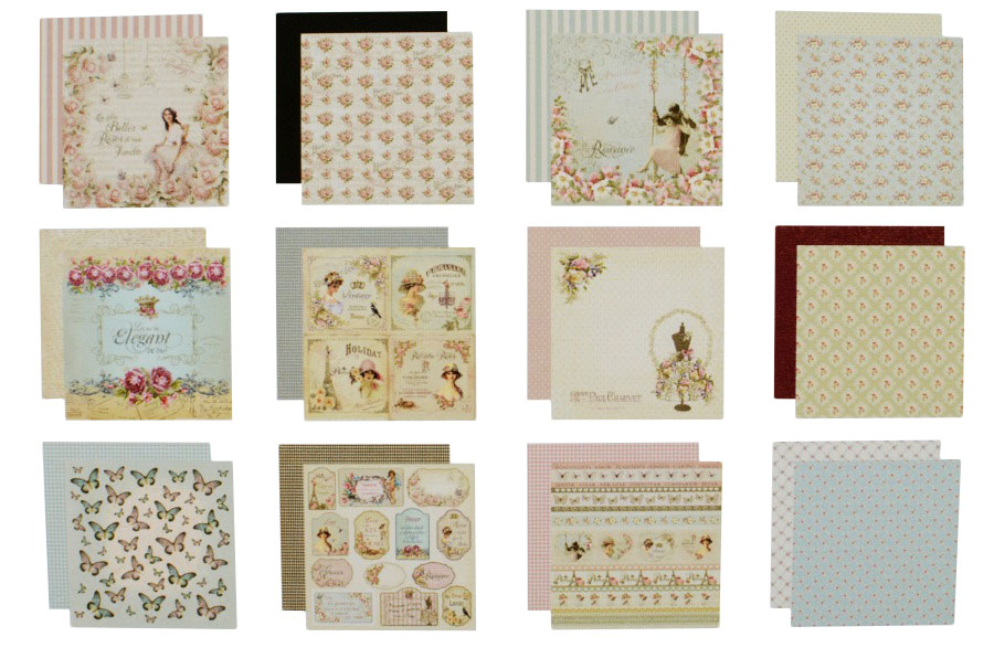 SET 24 SHEETS 20X20CM SCRAPBOOKING SCP-1005