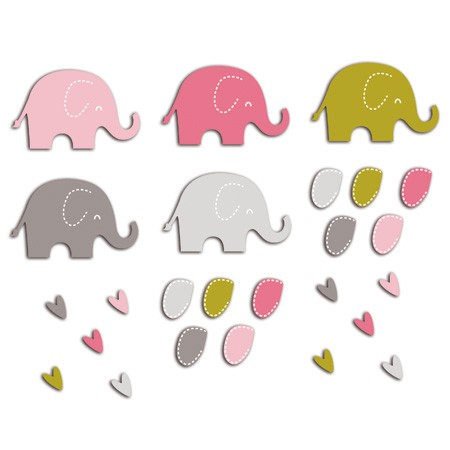 ASSORTMENT 20 PINK ELEPHANTS /GREEN 5.7X3.5cm FPD76