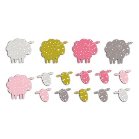 ASSORTMENT 20 PINK SHEEP /GREEN 4X3.5cm FPD78